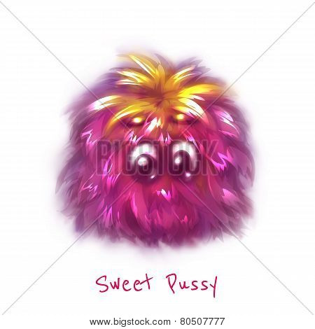 Vector sweet pink pussy on white background