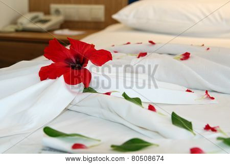 Decorated Hotel Bed
