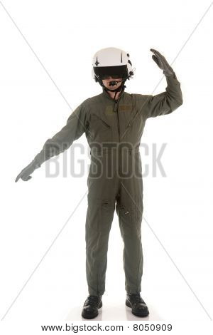 military pilot marshaling aircraft