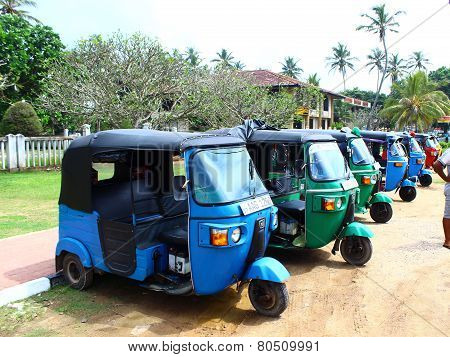 Parking tuk-tuk, the district Koggala, Sri Lanka