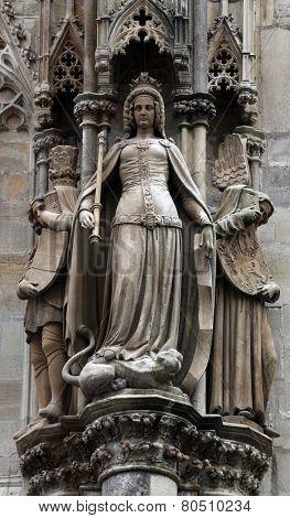 VIENNA, AUSTRIA - OCTOBER 10: Statue of saint at St Stephens Cathedral in Vienna, Austria on October 10, 2014
