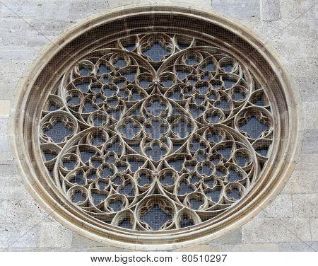 VIENNA, AUSTRIA - OCTOBER 10:  Rose window on St. Stephens Cathedral in Vienna, Austria on October 10, 2014.