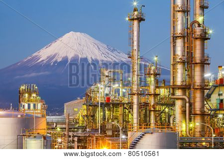 Japan oil refinery plant form industry zone with mountain Fuji in background
