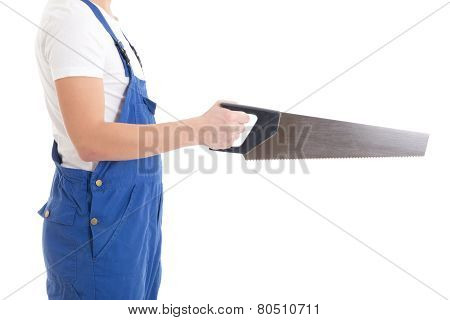 Manual Saw In Builder's Hand Isolated On White
