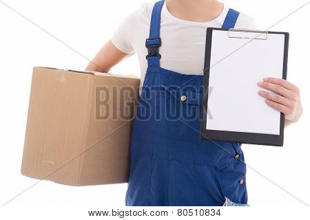 Delivery Concept - Cardboard Box And Clipboard With Copy Space In Postman's Hands Isolated On White