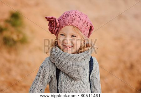 spring portrait of happy child girl
