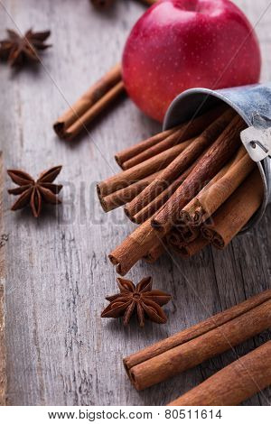 Group Of Spaces With Cinnamon And Anise
