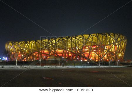 China, Beijing, Birds Nest Olympic Park - 2008: Winter night view of the Olympic Park