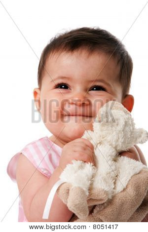 Happy Baby With Security Blanket