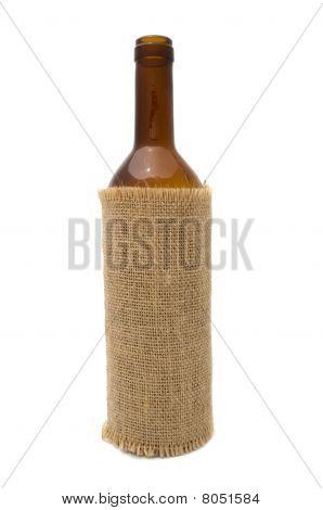 Open Wine Bottle in Sackcloth