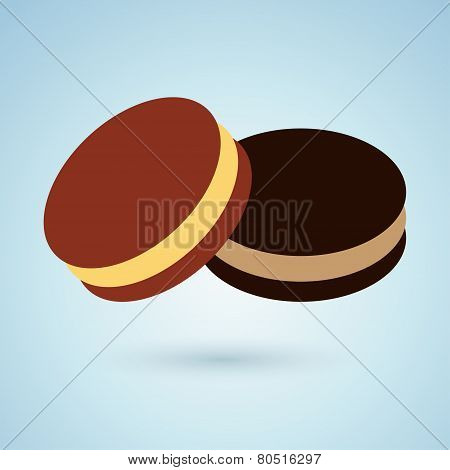 Icon of chocolate cookies with cream filling