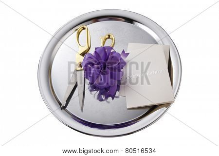 opening ceremony concept, purple bows on the silver plate