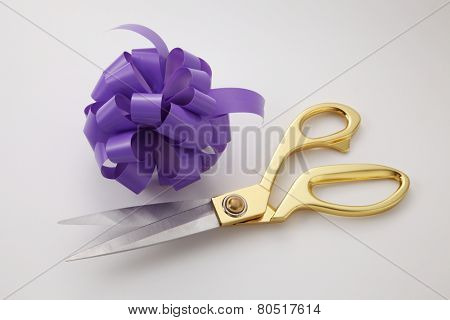 opening ceremony concepet purple ribbon bows and gold scissors