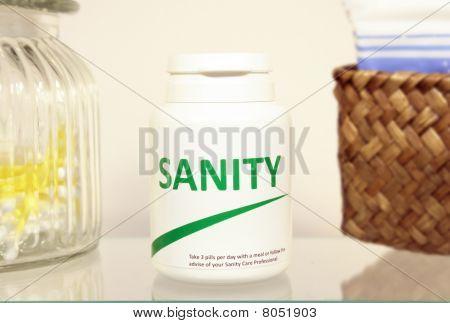 Sanity Pills In A Bottle On Bathroom Shelf