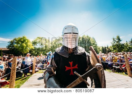 Warrior participant of festival of medieval culture
