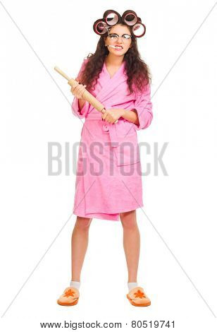 Housewife with battledore and cigarette isolated