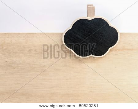 Wooden Clipboard Cloud Shape On Wood Board