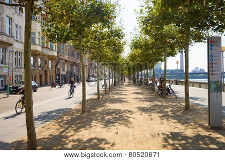 DUSSELDORF, GERMANY - SEP 16: Dusseldorf streets on September 16, 2014. Dusseldorf is the capital city of the German state of North Rhine-Westphalia and centre of the Rhine-Ruhr metropolitan region.