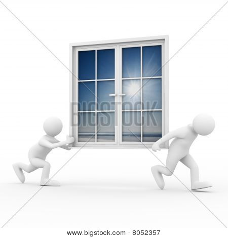 Two Man Carry Window On White Background. Isolated 3D Image
