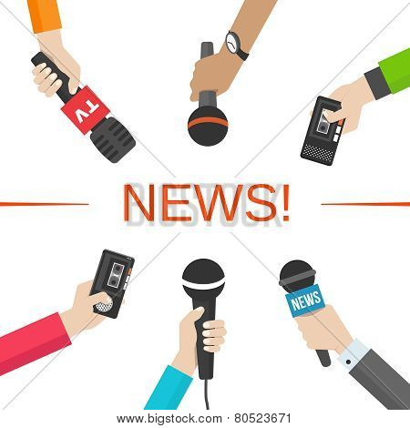 News, journalism concept. Hands with microphones and dictaphones