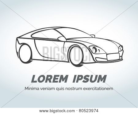 Abstract car vector logo for race, auto store and services