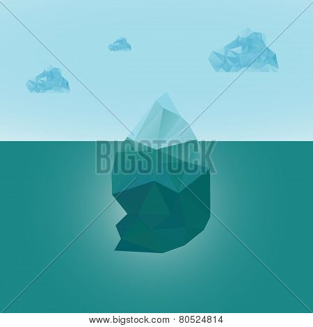 Polygonal iceberg glacier landscape with clouds. vector illustration- low poly style. Triangle desig