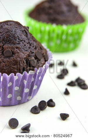 Close Up Of Chocolate Muffins On A White Table