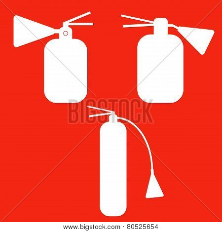 Set of Fire extinguishers isolated icons. Emergency icons.