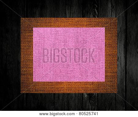 linen rustic canvas textured on dark wood background