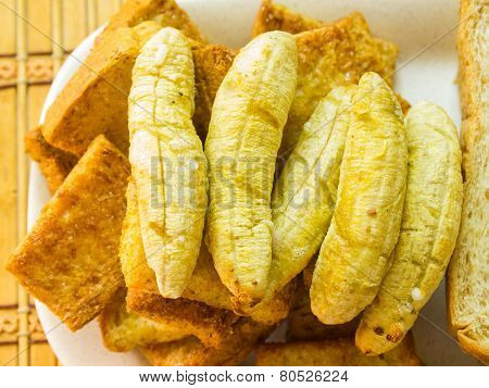 Banana Toast On Brown Bread Slices