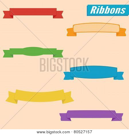 Vector Ribbons Set. Colorful.