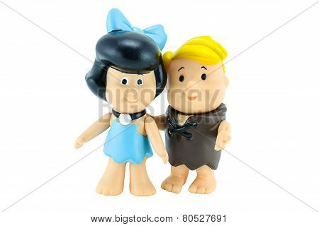 Barney Rubble And His Wife Betty Rubble  Character From The Flinstone Cartoon Aimation.