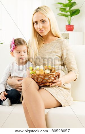 Cute Mom And Daughter With Baked Products