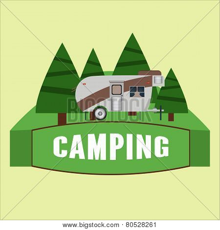 Rv Camping Illustration. Logo And Badge. Vector