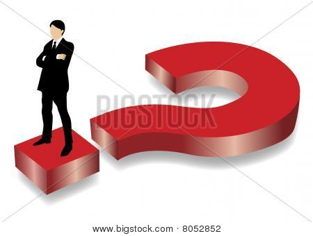 Business man standing on big red question mark