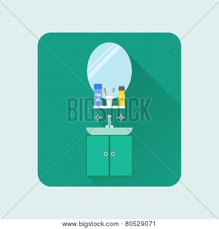 Bathroom Interior Icon. Washbasin And Mirror. Soap, Shampoo And Toothpaste. Vector