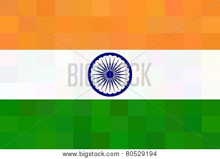 Indian Flag - Square Polygonal Style