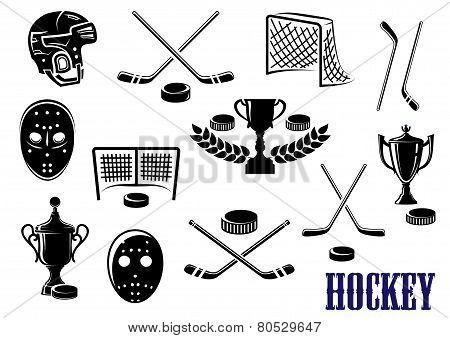 Ice hockey icons with caption Hockey