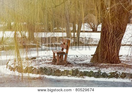Weeping Willow And Wooden Bench By The Frozen Lake