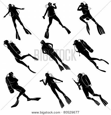 Set Silhouettes Of Divers.