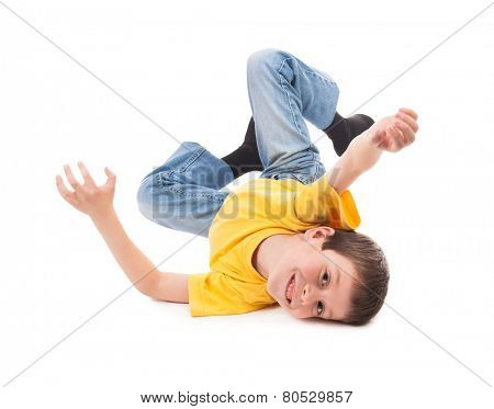 Boy playing and have fun. White background