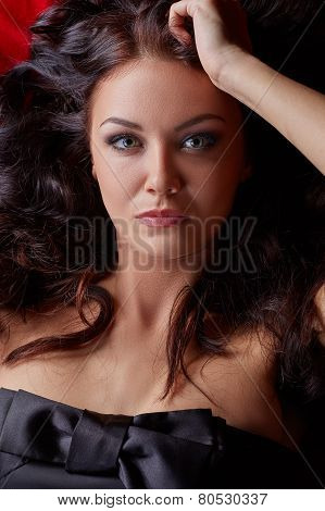 Sexy woman posing with eyes wide open