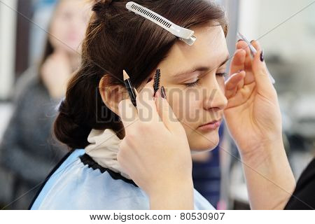 Makeup artist stylist applying with brush cosmetic on eyebrow of a beautiful woman