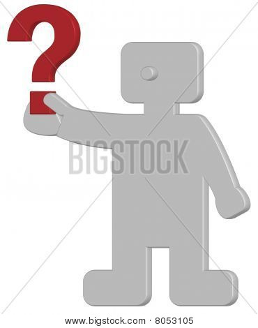 3d human with red question mark