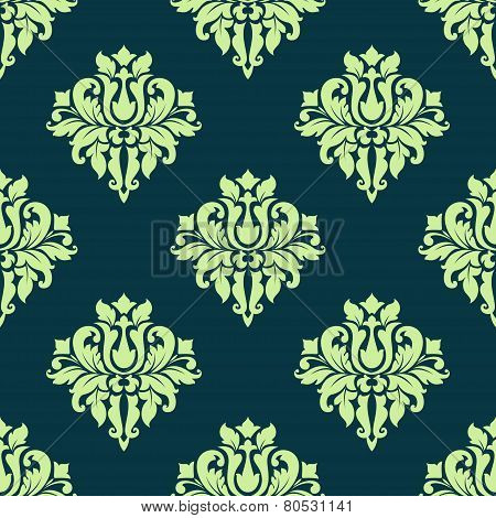 Seamless damask lush flowers pattern in green colors
