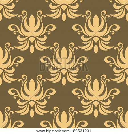 Seamless yellow curly flowers pattern