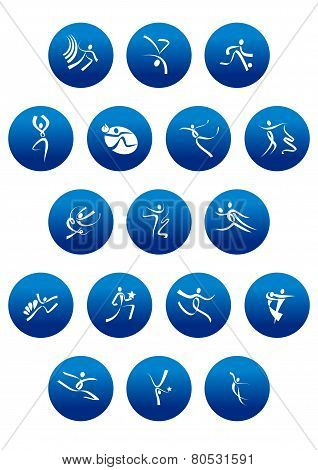 Blue round icons with white sportsman silhouettes