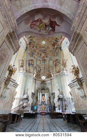 Interiors Of Pilgrimage Church In Krtiny Village