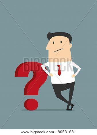Cartoon flat businessman with red question mark