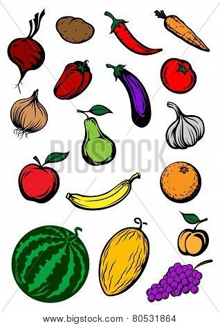 Organic ripe cartooned vegetables and fruits